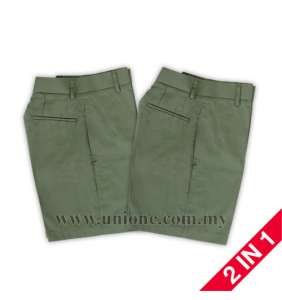 2 in 1 ! OLIVE GR. SHORT PANTS (U289G)